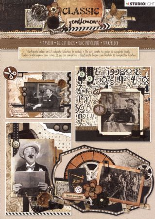 Classic Gentlemen 3D Die Cut Decoupage A4 Block  By Studio Light